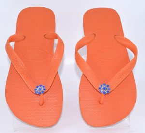 Top Orange S with Royal Blue Silver Crystal Jewel