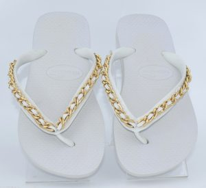 Top White S with Gold Chain Link