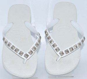 Top White S with Silver Pyramid Stud