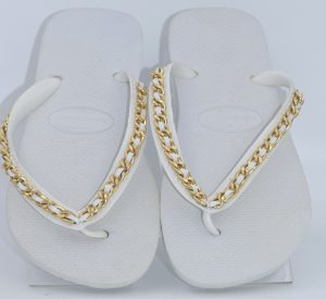 Top White XL Gold Link Chain